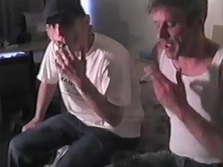 Amateur studs pounding ballsack fuckholes in nasty threesome fucking