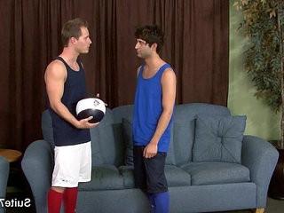 Hot jocks slurping their big dicks with lust