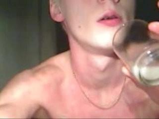 youbg twink drink own jizz