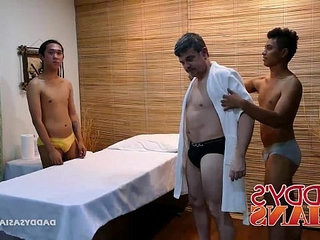 Daddy and Asian Twinks Raw Threesome