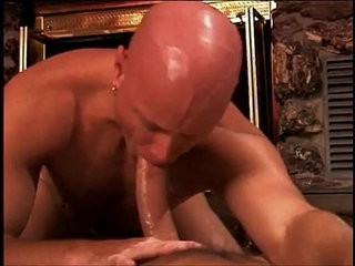 Bald muscular stud gets anal pounding